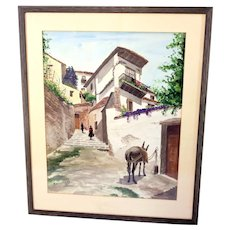 Mariano Sesmero Spanish watercolour from Malaga 1962-framed and glazed-ready to hang (Weight: 2.530kg)