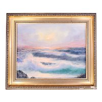 Capraro vintage oil on canvas painting-sunset seascape-framed and ready to hang (Weight: 2.6kg)