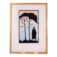 Åke Holm limited edition colour linoleum cut No. 350/375-signed in pencil (Weight: 498g)