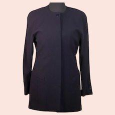 Escada by Margaretha Ley vintage ladies navy blue 100% Pure New Wool jacket-EU 40-UK 12/14