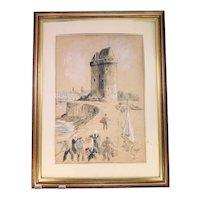 Frank Lewis Emanuel fibre painting 'Port in La Rochelle' (Weight: 1.690kg)