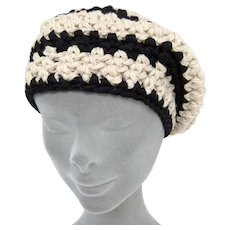 Sportmax ladies vintage black and white knitted beret-Size Small/Medium