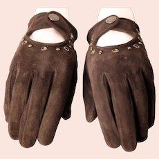 D&G ladies vintage dark brown suede leather gloves-Size Small
