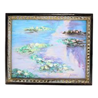 Antal Verboy 'Water Lilies' oil on canvas painting-framed and ready to hang (Weight: 312g)