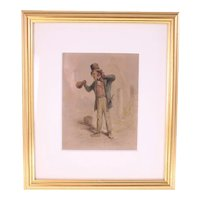 Antique 19th Century watercolour 'The Drunkard'-framed and ready to hang (Weight: 724g)