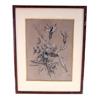 Elisabeth Djurberg antique 19th Century sepia drawing-signed and dated 1872-framed and ready to hang (Weight: 828g)