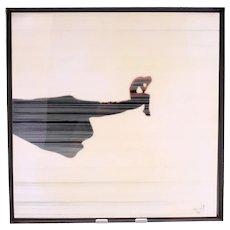 Vintage Spanish artwork from Catalonia in Spain 'Dit De Colom'-framed (Weight: 1.115kg)