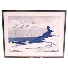 Kurt Ullberger linocut artwork of a Swedish coastline with seagulls-framed and ready to hang (Weight: 1.115kg)
