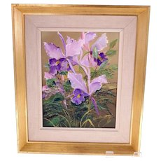 Dan Lindstrand 'Lilac Orchids' oil on canvas painting-framed and ready to hang (Weight: 1.83kg)