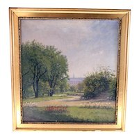 Peter Elias Petersen antique Danish oil on canvas painting of a Danish park-signed and dated 1909-framed (Weight: 906g)