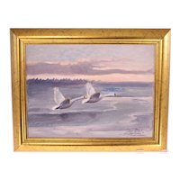"""Inge Törner """"Swans In Flight' oil on canvas painting-framed and ready to hang (Weight: 992g)"""