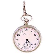 Marnna Molnija vintage CCCP pocket watch with chain-works when wound-Weight: 105.8g
