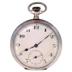 Lanco Swiss made silver 800 vintage 50mm pocket watch-works when wound-Weight: 73.5g