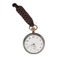 Antique Swiss made 'AN' silver 800 pocket watch with Arabic dial-needs repairing-Weight: 80g