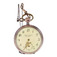 Antique Swedish CW Lundström Landsriken silver 800 pocket watch-needs repairing-Weight: 86.8g