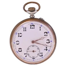 Thiel Anker 15 Stein 24-hour dial German vintage pocket watch-needs repairing-Weight: 77.5g