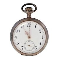 Galonne antique Swiss made Ancre 15 Rubis Precision silver 800 pocket watch-needs repairing-Weight: 78.4g