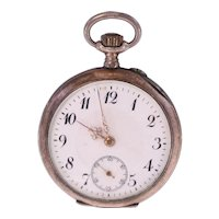 Antique silver 800 ladies small pocket watch-needs repairing-Weight 29.4g