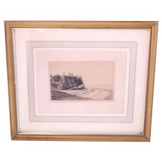 Antique 19th Century Carl Bloch etching 1883 'Haystack'-signed and dated-framed and glazed-Weight: 564g