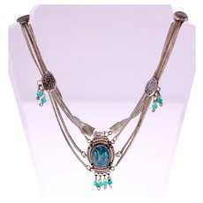 Vintage Israeli silver 800 necklace inset with green stone-Weight: 30.7g