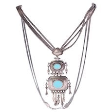 Antique handmade Persian sterling silver necklace inset with turquoise-Weight 61.2g