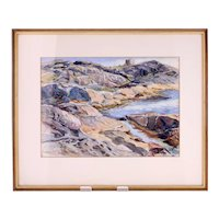 Vintage Swedish coastline watercolour by 'TEG'-framed and glazed ready to hang-Weight: 896g