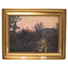 Poul Jerndorff oil on board Danish painting-handmade wooden frame (Weight: 448g)
