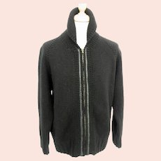 """You Must Create mens black zipped wool cardigan-Size L-42"""" to 44"""" Chest"""