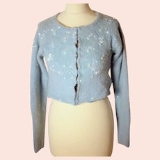 Voyage ladies blue Angora-blend cardigan with sequins and beads detail-EU 36-UK 8