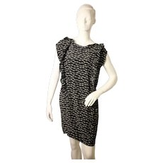 Whistles ladies black and white patterned silk dress with tie detail-EU 38-UK 10