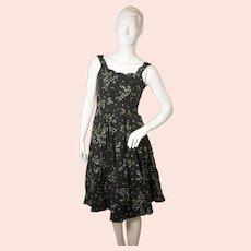 Saks Fifth Avenue 'Mr Mort' ladies vintage black 1950's dress-EU 36-UK 8