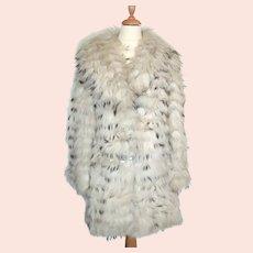 Vintage ladies white fur coat with brown and black coloured pattern detail-EU 36/38-UK 8 to 10