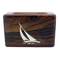 Axel Salomonsen Danish teak matchbox holder with sterling silver nautical detail (Weight: 118g)