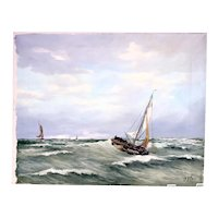 Max Otter 'Ships At Sea' oil on canvas painting-unframed-signed by artist (Weight: 710g)