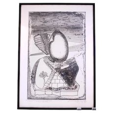 Julianos Kattinis 'Lucomone' Rome 1985 vintage etching-framed and ready to hang (Weight: 1.9kg)