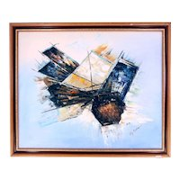 Roy Pierce abstract oil on canvas painting-framed and ready to hang (Weight: 1.595kg)