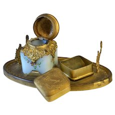 Inkwell Desk Set 1800s Painted Milk Glass Ink Bottle  Stamp Holder & Pen Rest for Woman's Desk Accessory Stationary