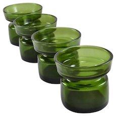 Dansk IHQ Votive Candleholders Stacking Green Glass Mid Century Designer Jens Quistgaard