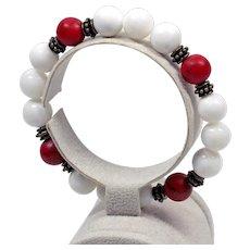 Stretch Bacelet Women - Red and White Beads Bracelet - Gemstone Bracelet Femme
