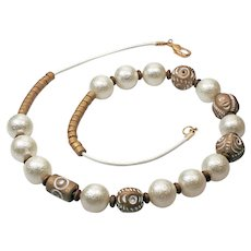 Imitation Pearl Necklace - Trendy Necklace for Women - Gold Beads Necklace