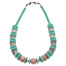 Blue Howlite and Pink Rhodonite Necklace - Gemstone Beads Necklace - Color Turquoise for Women