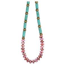 Howlite teal choker - Puka shell hobo necklace - Pink shell choker - Sea lover necklace