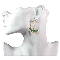 Dragonfly Ear Wire Earrings - Blue Enamel Earrings Femme - Elegant Dangle Earrings for Women - Earrings with Beads Swarovski