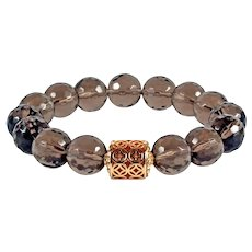 Stretch Bracelet of Smoky Quartz - Gemstone Energy Bracelet - Jewelry Good Luck