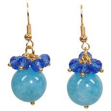 Blue dangle earrings - Gold tone swing earrings - Two color earrings femme