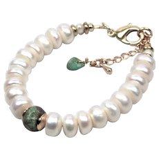 White pearl rough turquoise bracelet -Bracelet real turquoise bead - Cultured flat pearl bracelet women