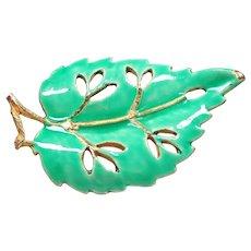 Ladies jacket brooch - Leaf green enamel brooch - Gold tone brooch