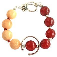Carnelian Ladies Bracelet - Yin Yang Energy Balance Bracelet Women - Calming Jewelry Balance - Everyday  Lucky Bracelet - Designer Trendy Jewelry