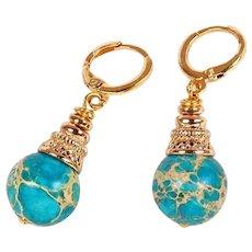 Sky color jasper hoop swing earrings - Blue stone map picasso jasper - Teal jasper beads earrings femme - Marble blue hoop earrings women