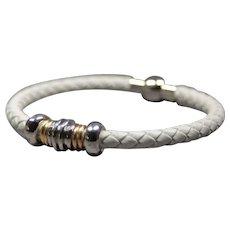 White leather cuff bracelets for women - Magnetic clasp artisan bracelet - Elegant leather bracelet